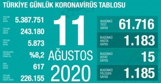 11 Ağustos Koronavirüs Tablosu