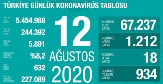 12 Ağustos Koronavirüs Tablosu