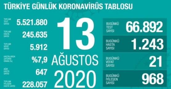 13 Ağustos Koronavirüs Tablosu