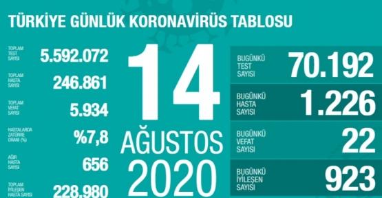 14 Ağustos Koronavirüs Tablosu