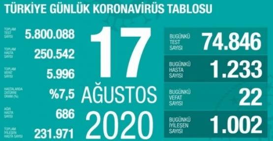 17 Ağustos Koronavirüs Tablosu