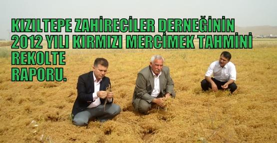 2012 YILI KIRMIZI  MERCİMEK TAHMİNİ REKOLTE RAPORU.