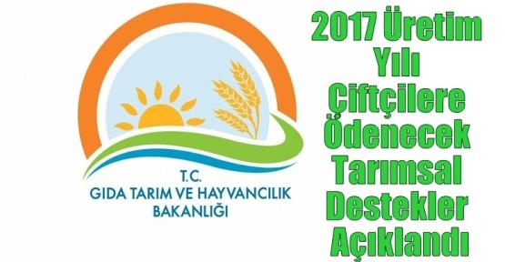2017 Üretim Yılı Çiftçilere Ödenecek Tarımsal Destekler Açıklandı
