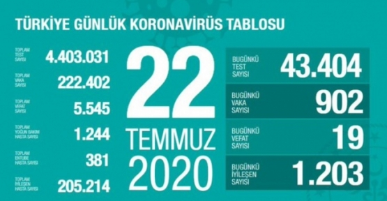 22 Temmuz Koronavirüs Tablosu