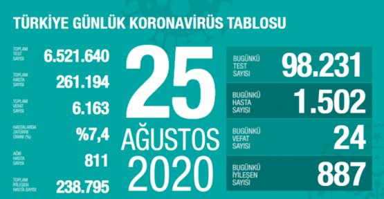 25 Ağustos Koronavirüs Tablosu