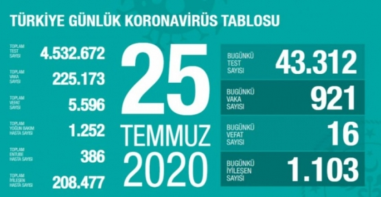 25 Temmuz Koronavirüs Tablosu