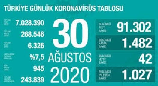 30 Ağustos Koronavirüs Tablosu