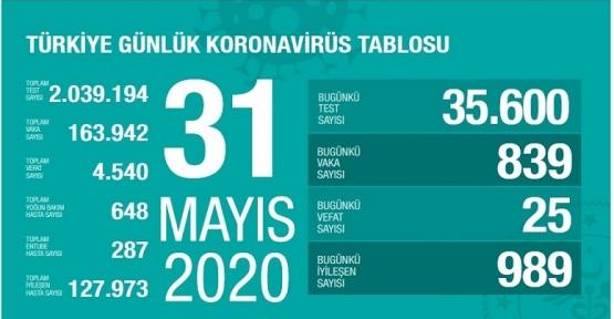 31 Mayıs Koronavirüs tablosu