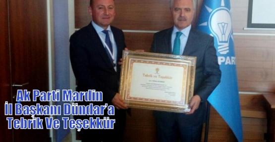 Ak Parti Mardin İl Başkanı Dündar'a Tebrik Ve Teşekkür