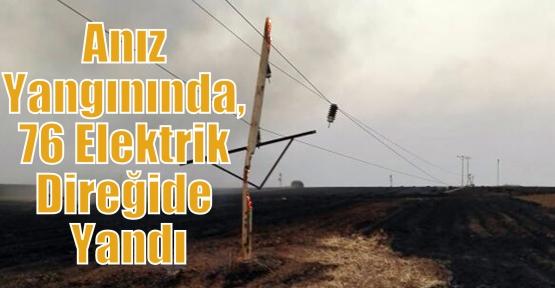 Anız Yangınında, 76 Elektrik Direğide Yandı