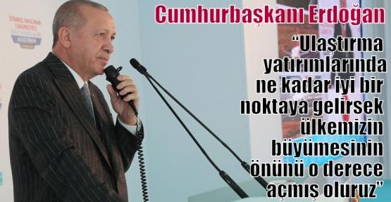 """Cumhurbaşkanı Erdoğan,'Ulaştırma yatırımlarında ne kadar iyi bir noktaya gelirsek ülkemizin büyümesinin önünü o derece açmış oluruz"""""""