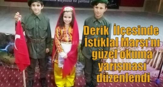 Derik  İlçesinde  İstiklal Marşı'nı güzel okuma yarışması düzenlendi