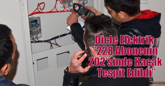 """Dicle Elektrik ;""""228 Abonenin 202'sinde Kaçak Tespit Edildi"""""""