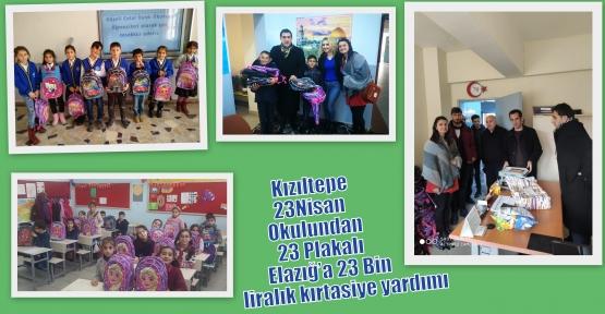 Kızıltepe 23 Nisan Okulundan 23 Plakalı Elazığ'a 23 Bin liralık kırtasiye yardımı