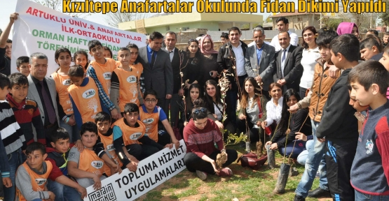 Kızıltepe Anafartalar Okulunda Fidan Dikimi Yapıldı