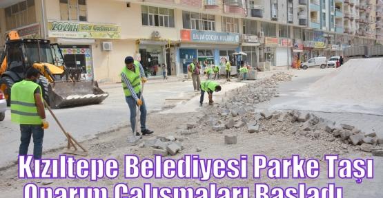 Kızıltepe Belediyesi Parke Taşı Onarım Çalışmaları Başladı