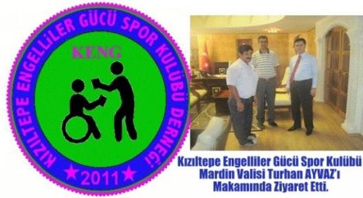 Kızıltepe Engelliler Gücü Spor Kulübü Derneği Mardin Valisi Turhan AYVAZ'ı Makamında Ziyaret Etti.