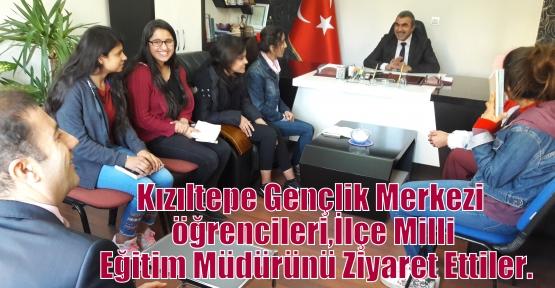 Kızıltepe Gençlik Merkezi  öğrencileri, Kızıltepe İlçe Milli Eğitim Müdürünü Ziyaret Ettiler.