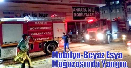 Kızıltepe ilçesinde Mobilya-Beyaz Eşya Mağazasında Yangın.