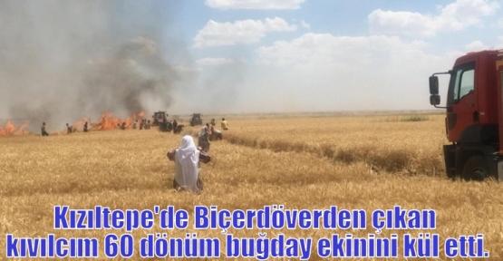 Kızıltepe'de Biçerdöverden çıkan kıvılcım 60 dönüm buğday ekinini kül etti.