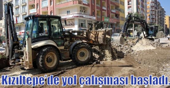 Kızıltepe'de yol çalışması başladı.