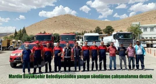 Mardin Büyükşehir Belediyesinden yangın söndürme çalışmalarına destek