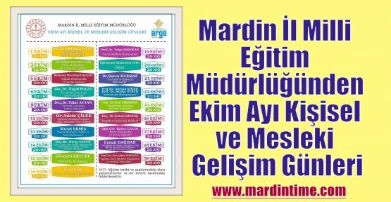 Mardin İl Milli Eğitim Müdürlüğü Ekim Ayı Kişisel ve Mesleki Gelişim Günleri