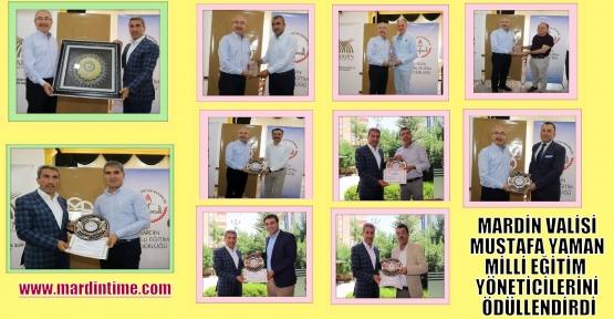 Mardin Valisi Mustafa Yaman Milli Eğitim Yöneticilerini Ödüllendirdi