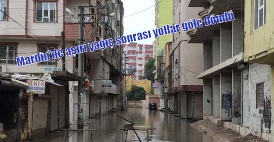 Mardin'de aşırı yağış sonrası yollar göle döndü