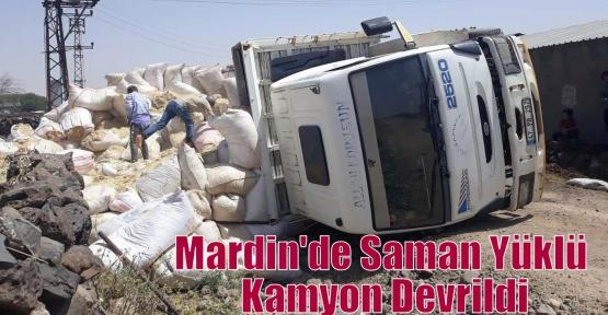 Mardin'de Saman Yüklü Kamyon Devrildi