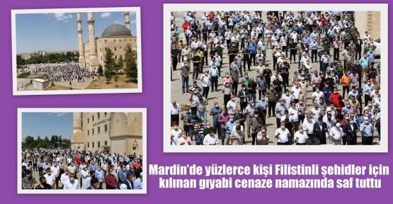 Mardin'de yüzlerce kişi Filistinli şehidler için kılınan gıyabi cenaze namazında saf tuttu