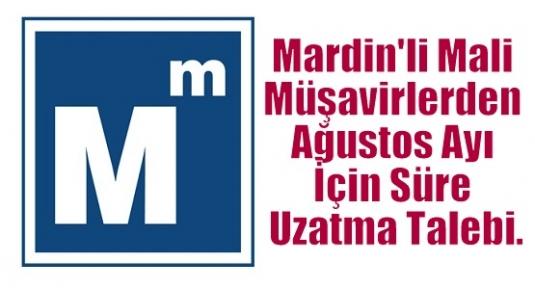 Mardin'li Mali Müşavirlerden Ağustos Ayı İçin Süre Uzatma Talebi.