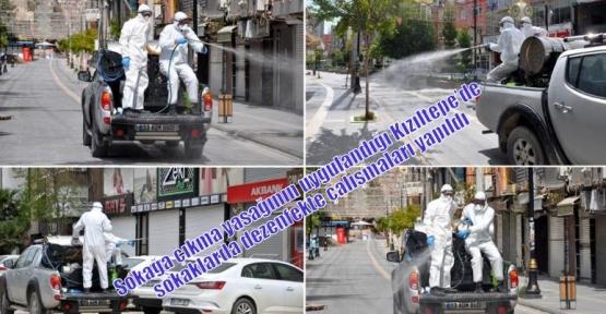 Sokağa çıkma yasağının uygulandığı Kızıltepe'de  sokaklarda dezenfekte çalışmaları yapıldı