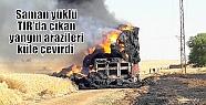 Saman yüklü TIR'da çıkan yangın arazileri...