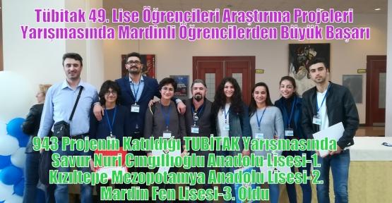Tübitak 49. Lise Öğrencileri Araştırma Projeleri Yarışmasında Mardinli Öğrencilerden Büyük Başarı