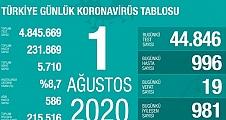 01 Ağustos Koronavirüs Tablosu