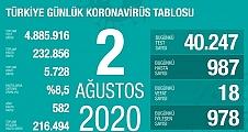 02 Ağustos Koronavirüs Tablosu