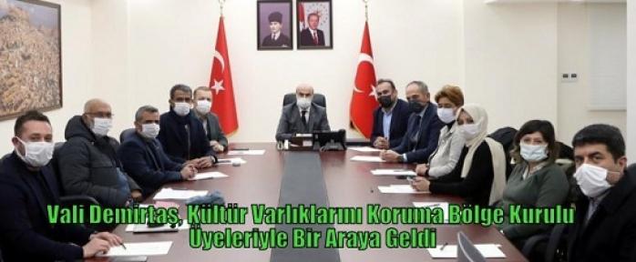 Vali Demirtaş, Kültür Varlıklarını Koruma Bölge Kurulu Üyeleriyle Bir Araya Geldi