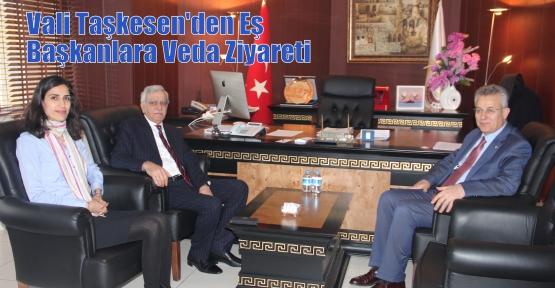 Vali Taşkesen'den  Eş Başkanlara Veda Ziyareti